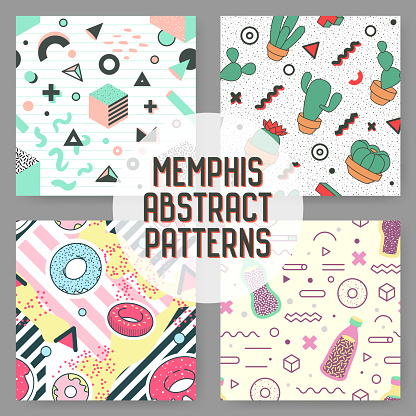 Trendy Geometric Elements Seamless Patterns Set. Abstract Backgrounds. Modern Design Poster