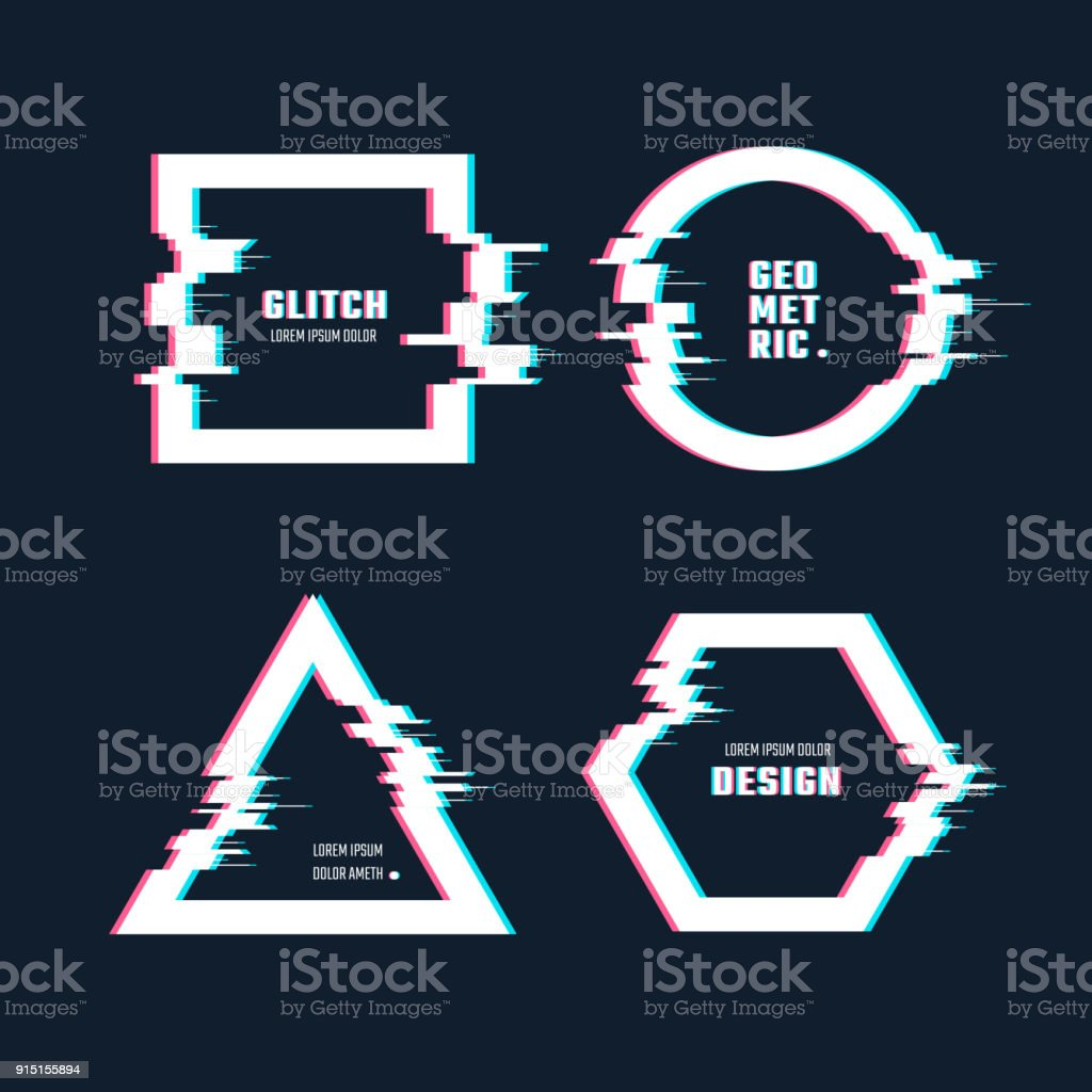 Trendy geometric shapes with glitch distortion effect. Border frames with video glitch lines vector set vector art illustration