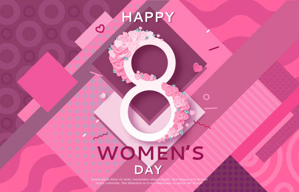 trendy geometric women s day banner, 8 march poster in modern 90s-80s style with paper art, origami elements, patterns, flowers, woman silhouette, colorful vector illustration, background - international womens day stock illustrations, clip art, cartoons, & icons