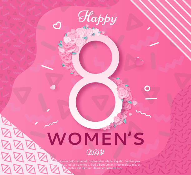 Trendy geometric women s day banner, 8 march poster in modern 90s-80s style with paper art, origami elements, patterns, flowers, woman silhouette, colorful vector illustration, background vector art illustration