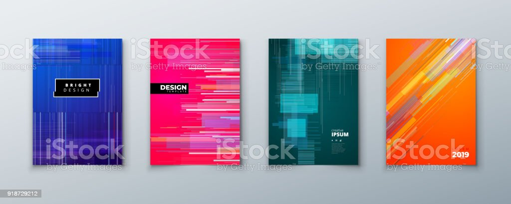 Trendy glitch covers design with geometric pattern. Modern vector illustration.
