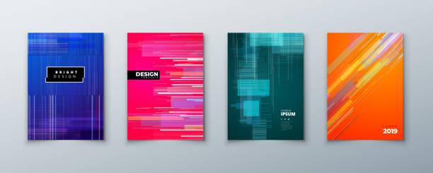 trendige glitch umfasst design mit geometrischem muster. moderne vektor-illustration. - möbeldesign stock-grafiken, -clipart, -cartoons und -symbole