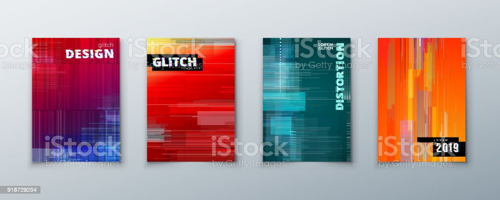 Trendige Glitch umfasst Design mit geometrischem Muster. Moderne Vektor-Illustration. – Vektorgrafik