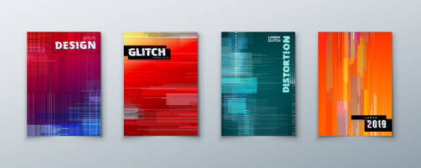 bildbanksillustrationer, clip art samt tecknat material och ikoner med trendiga glitch täcker design med geometriska mönster. moderna vektorillustration. - tuff attityd