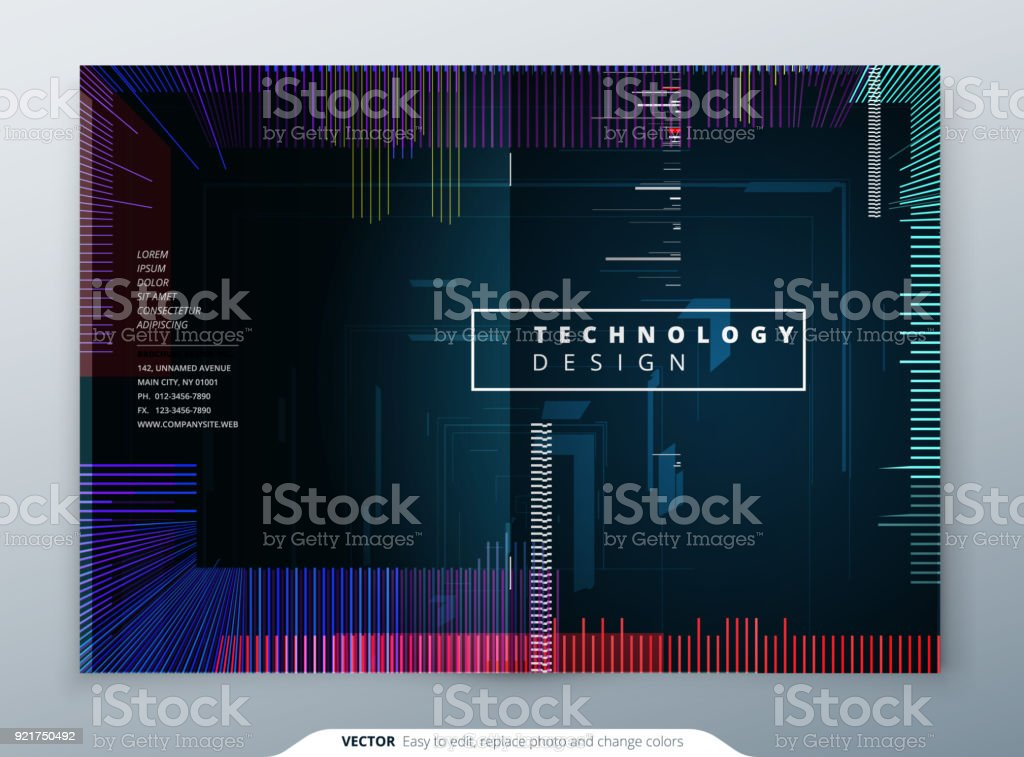 Trendy glitch covers design with geometric pattern. Modern vector illustration. vector art illustration