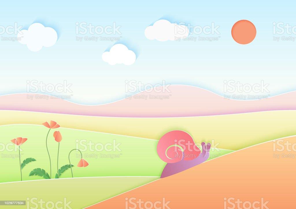 流行のグラデーション カラー ル紙夏風景背景かわいいカタツムリ