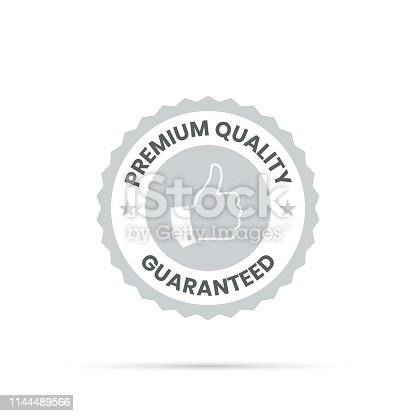 Gray Trendy badge (Premium Quality, Guaranteed), with shadow and isolated on a white background. Elements for your design, with space for your text. Vector Illustration (EPS10, well layered and grouped). Easy to edit, manipulate, resize or colorize.