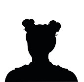Silhouette illustration of a trendy hairdo.  Her hair is put up in high pony tails and then wrapped around as small buns.