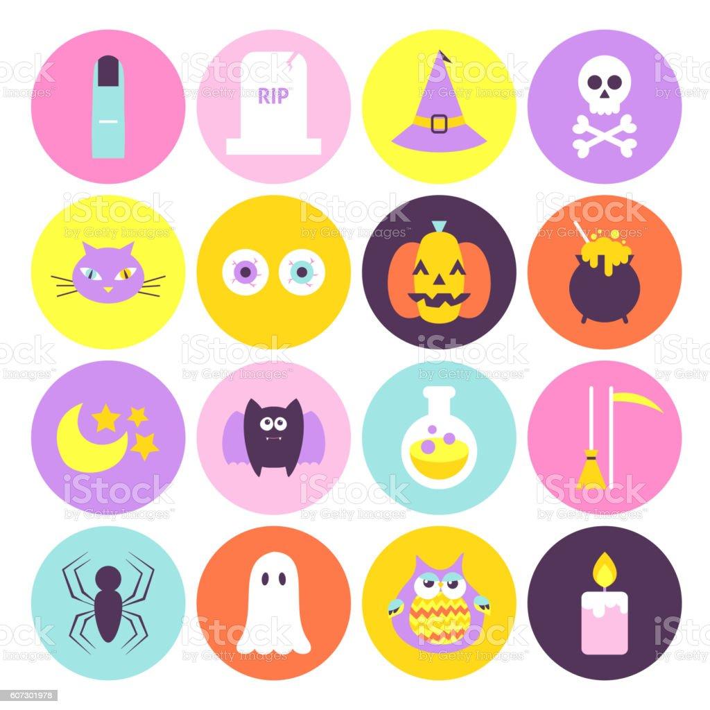Trendy Halloween Circle Icons Set vector art illustration