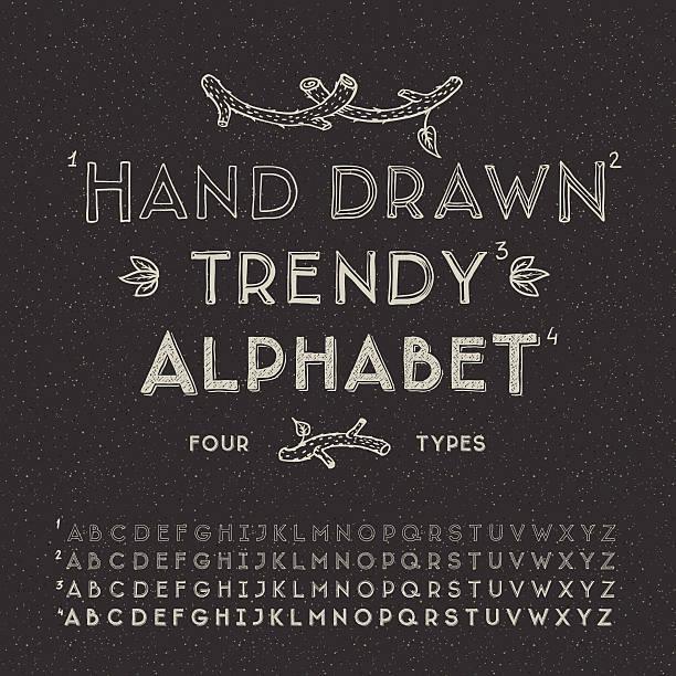 Trendy hand drawing alphabet Trendy hand drawing alphabet, vector eps10 illustration. alphabet drawings stock illustrations