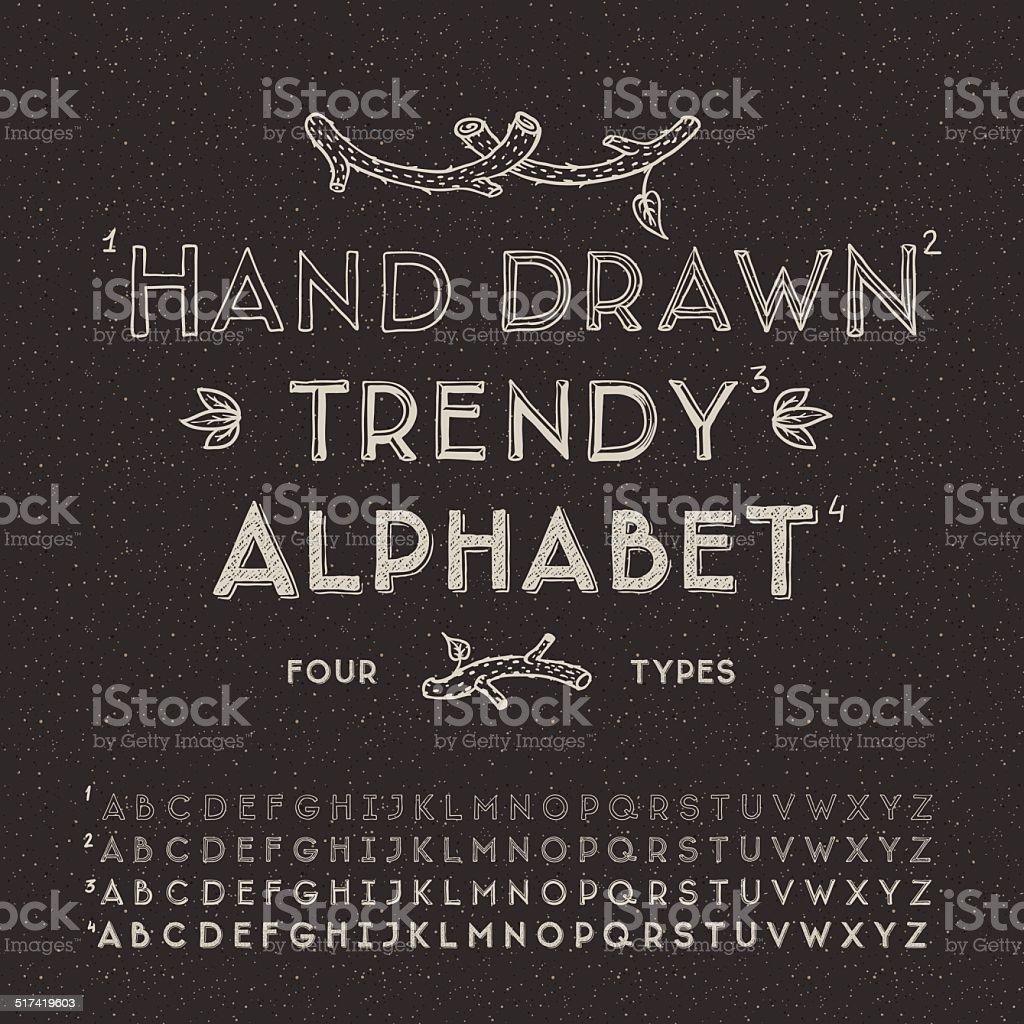 Trendy hand drawing alphabet vector art illustration