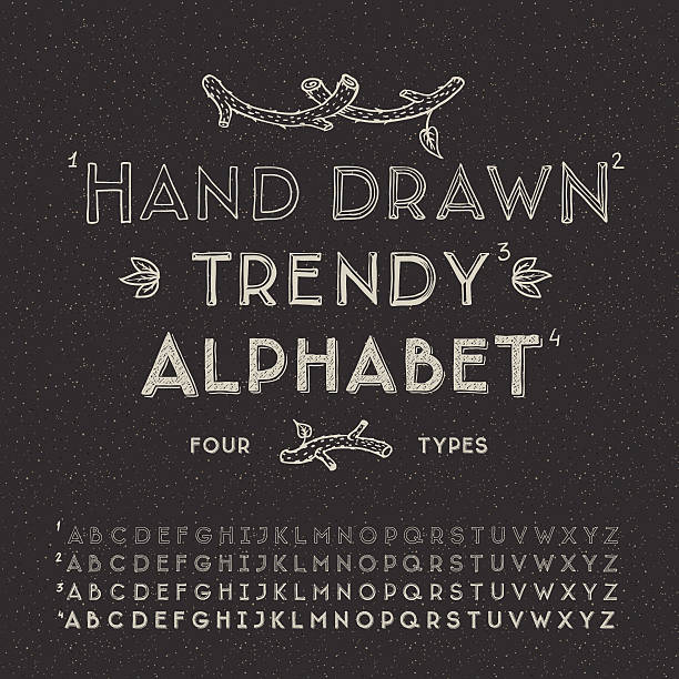 trendy hand drawing alphabet - alphabet drawings stock illustrations