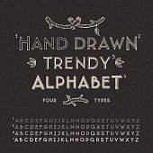Trendy hand drawing alphabet