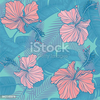 Seamless tropical pattern with hibiscus & leaf.