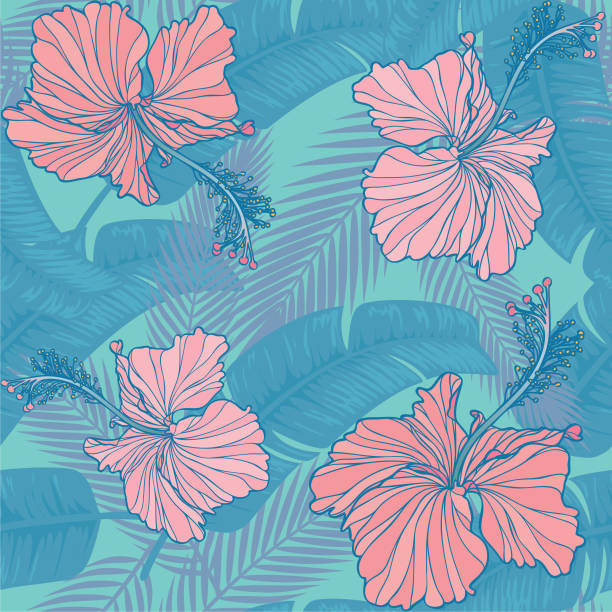 trendy hibiscus & leaf seamless pattern Seamless tropical pattern with hibiscus & leaf. hawaiian culture stock illustrations