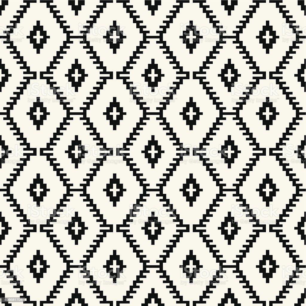 Trendy hipster  Black and white pixel seamless pattern vector art illustration