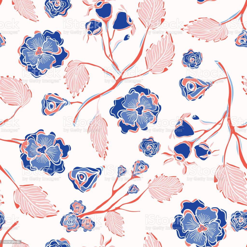 Trendy Indiase kantpatroon Floral naadloze Vector - Royalty-free Achtergrond - Thema vectorkunst