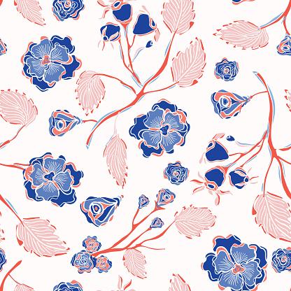 Trendy Indiase Kantpatroon Floral Naadloze Vector Stockvectorkunst en meer beelden van Achtergrond - Thema