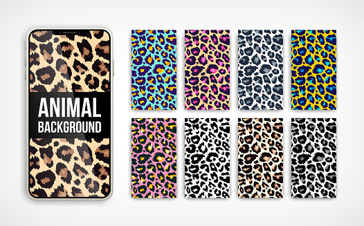 Trendy leopard abstract vertical background set. Hand drawn fashionable wild animal color texture on smartphone screen collection for social media banner, cover, phone wallpaper. Vector illustration