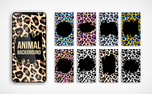 Trendy leopard abstract vertical banner background set. Vector wild animal texture with hand drawn grunge brush stroke on smartphone screen collection for social media, cover, phone wallpaper