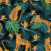 Trendy leopard pattern with tropical leaves and exotic flowers. Vector seamless texture.