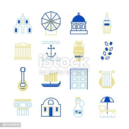 Greece symbols in beautiful colours. For magazines, web, tourism. Travel to Greece elements.