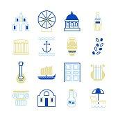 Trendy line Greece icons.