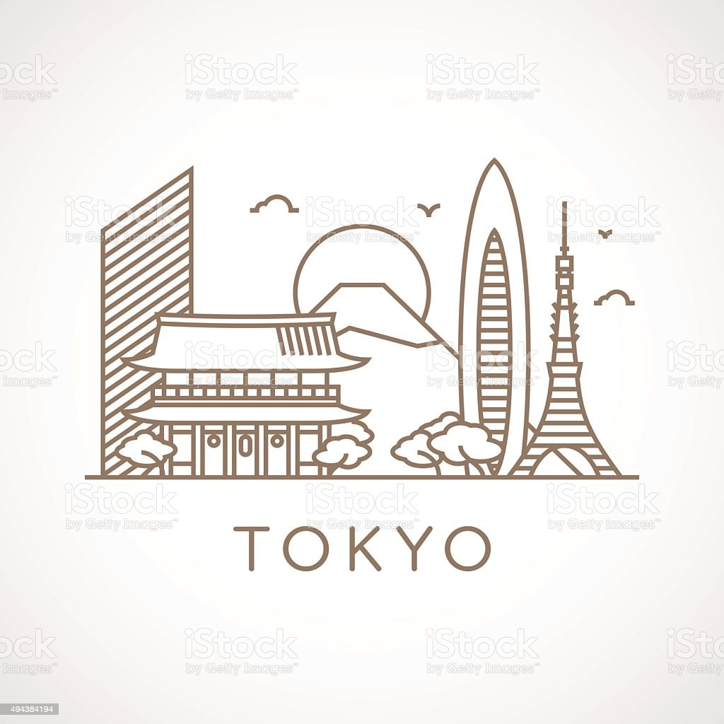 Trendy line-art illustration of Tokyo. vector art illustration
