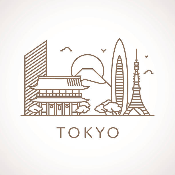 Trendy line-art illustration of Tokyo. Trendy line illustration of Tokyo with different famous buildings and places of interest. Modern vector line-art design. tokyo stock illustrations