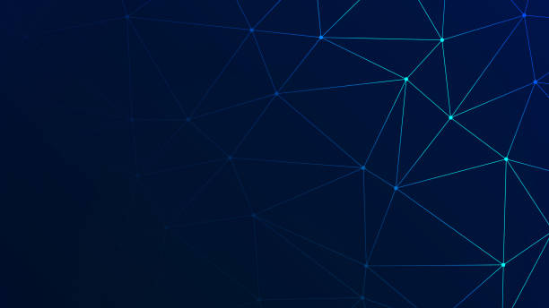 Trendy Low Poly Triangles with Navy BG Trendy Polygonal Technology Background for Your Business and Advertising Graphic Design Project dark blue stock illustrations