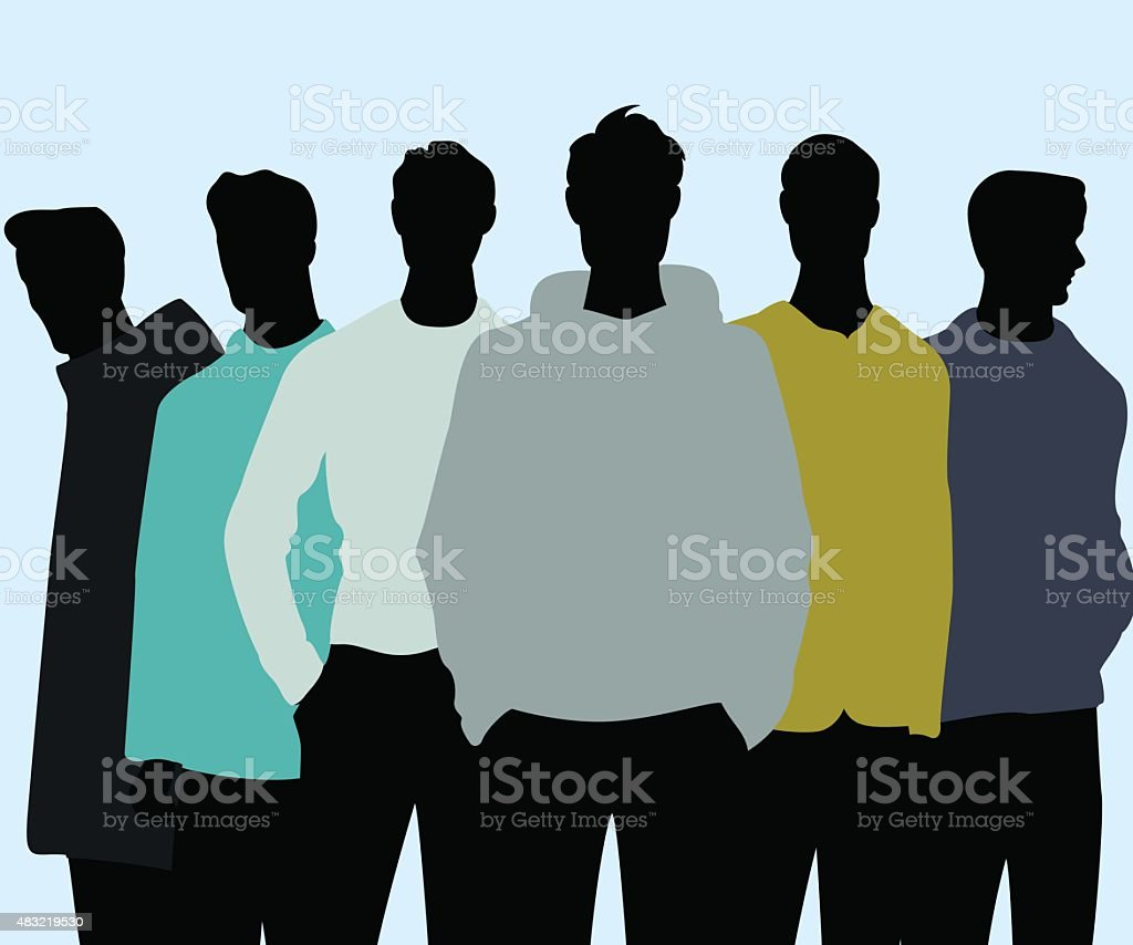 Trendy men vector art illustration