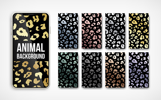 Trendy metallic leopard abstract vertical background set. Vector wild animal golden, silver, chrome, rose gold texture on smartphone screen collection for social media banner, cover, phone wallpaper