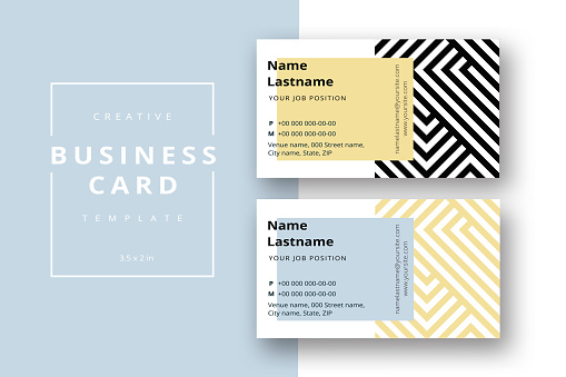 Trendy minimal abstract business card template in black and gold. Modern corporate stationary id layout with geometric lines. Vector fashion background design with information sample name text.