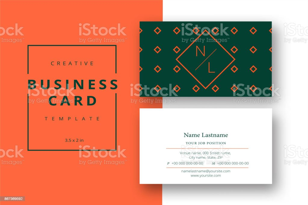 Trendy Minimal Abstract Business Card Template In Orange And Green ...