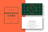Trendy minimal abstract business card template in orange and green. Modern corporate stationary id layout with geometric lines. Vector fashion background design with information sample name text.