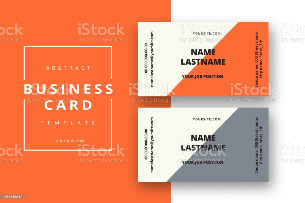 Trendy Minimal Abstract Business Card Template In Orange Color ...