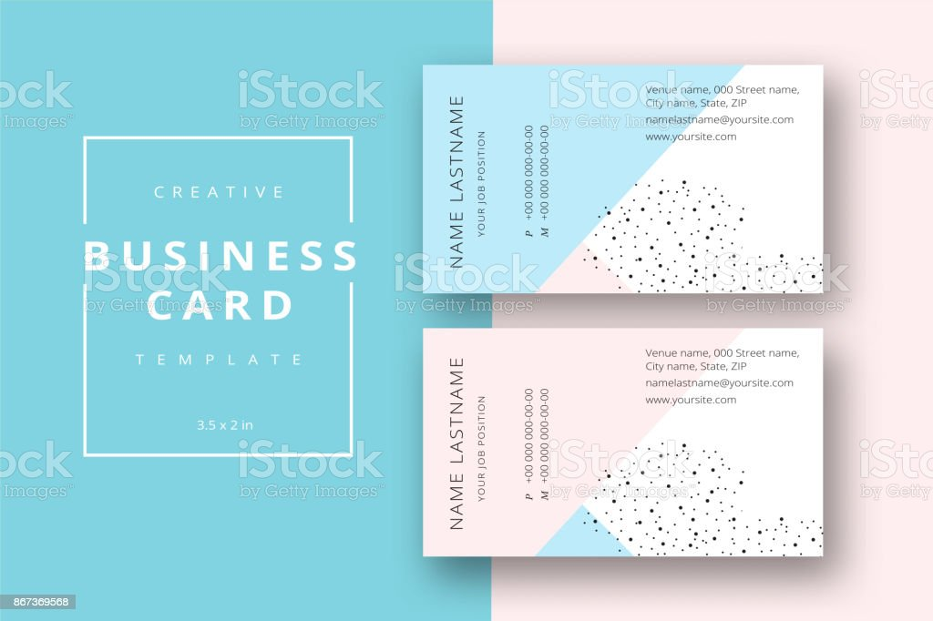 Trendy Minimal Abstract Business Card Template In Pink And Blue ...