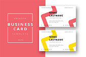Trendy minimal abstract business card template in red and yellow. Modern corporate stationary id layout with geometric lines. Vector fashion background design with information sample name text.