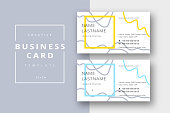 Trendy minimal abstract business card template in yellow and blue. Modern corporate stationary id layout with geometric lines. Vector fashion background design with information sample name text.