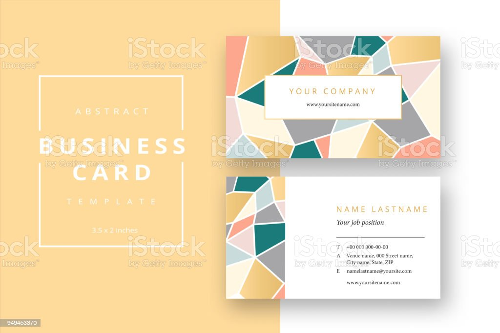 Trendy Minimal Abstract Business Card Template Modern Corporate Stationery Id Layout With Geometric Mosaic Pattern