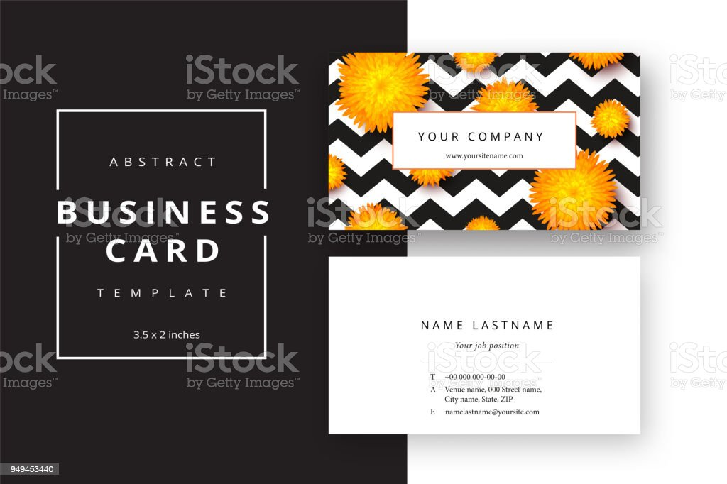 trendy minimal abstract business card template with flowers modern