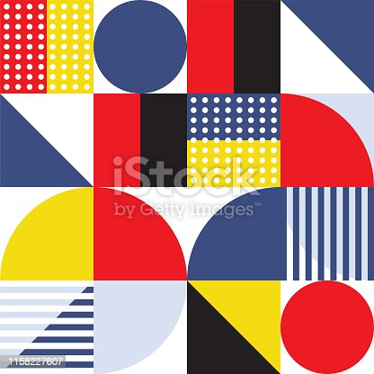 Modern geometric style minimal geometric vector pattern illustration. Abstract background design with vibrant colors of red, yellow and blue.