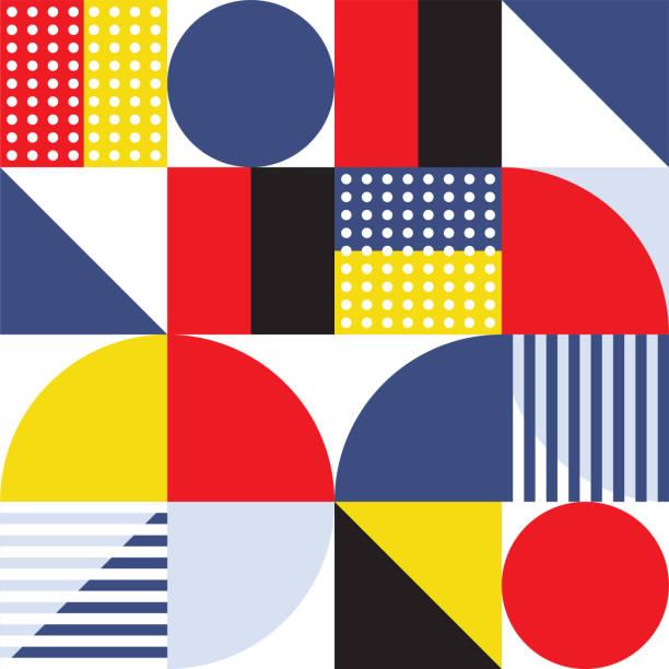 bildbanksillustrationer, clip art samt tecknat material och ikoner med trendiga minimal swiss style vektor mönster design - konststilar