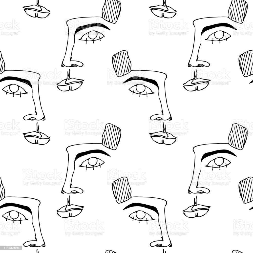 Trendy minimalistic face. One continuous line drawing. Seamless pattern with faces. Abstract outline silhouette of human face. Modern avant- garde poster. Trendy minimalistic face. One continuous line drawing. Abstract stock vector