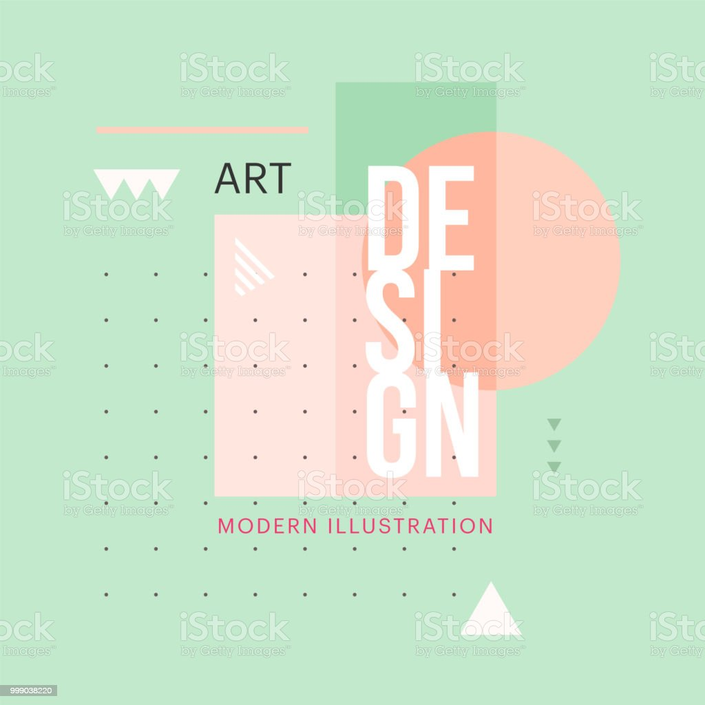 Trendy minimalistic geometric shape design. Vector modern art elements for business cards, invitations, gift cards, flyers, brochures - arte vettoriale royalty-free di 1970-1979