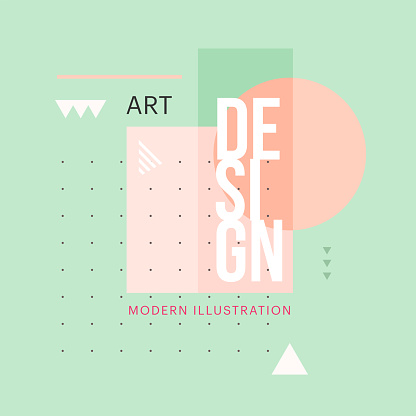Trendy Minimalistic Geometric Shape Design Vector Modern Art Elements For Business Cards Invitations Gift Cards Flyers Brochures - Immagini vettoriali stock e altre immagini di 1970-1979