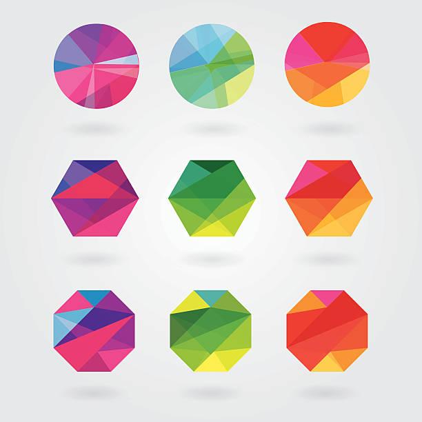 stockillustraties, clipart, cartoons en iconen met trendy modern abstract element designs in polygonal triangular geometric compositions - achthoek