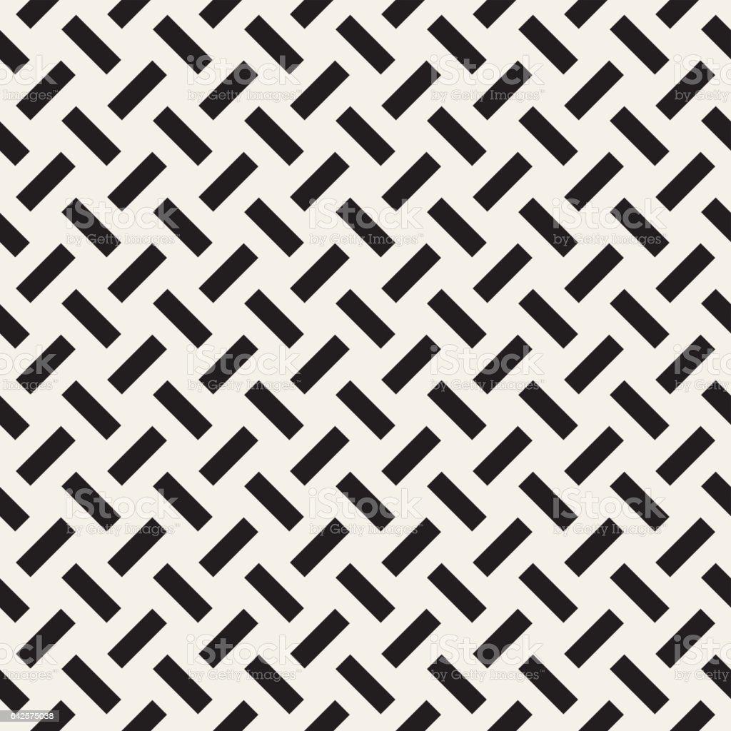 Trendy monochrome twill weave. Vector Seamless Black and White Pattern. vector art illustration