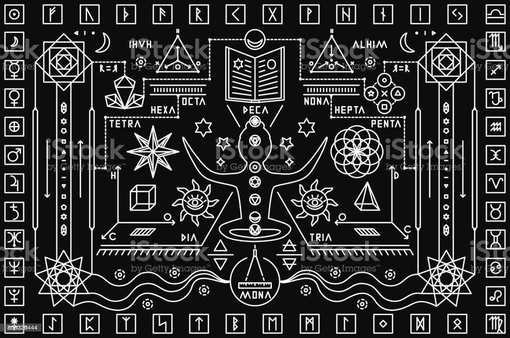 Trendy mystic background vector art illustration