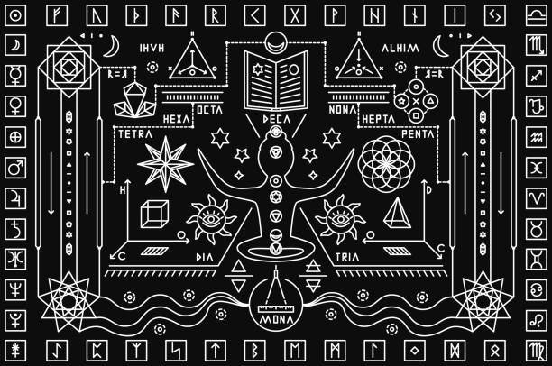 trendy mystic background - freemasons stock illustrations